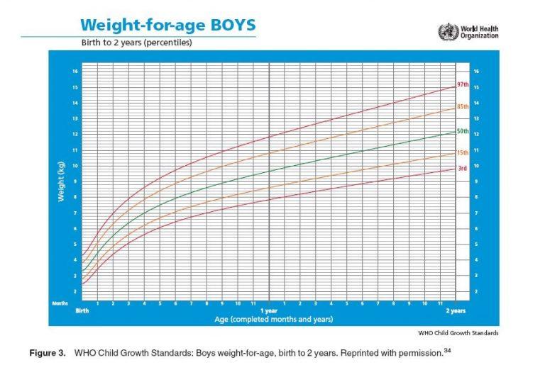 Biểu đồ cân nặng theo tuổi ở bé nam sơ sinh – 2 tuổi